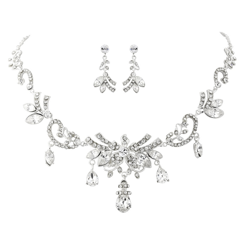Edith Vintage Crystal Bridal Necklace Set, crystal wedding accessory